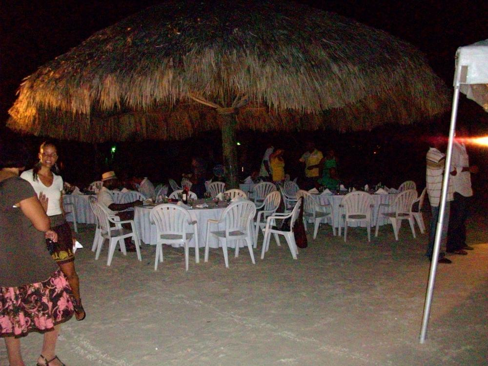 The informal rehearsal dinner was a buffet set up on the beach.