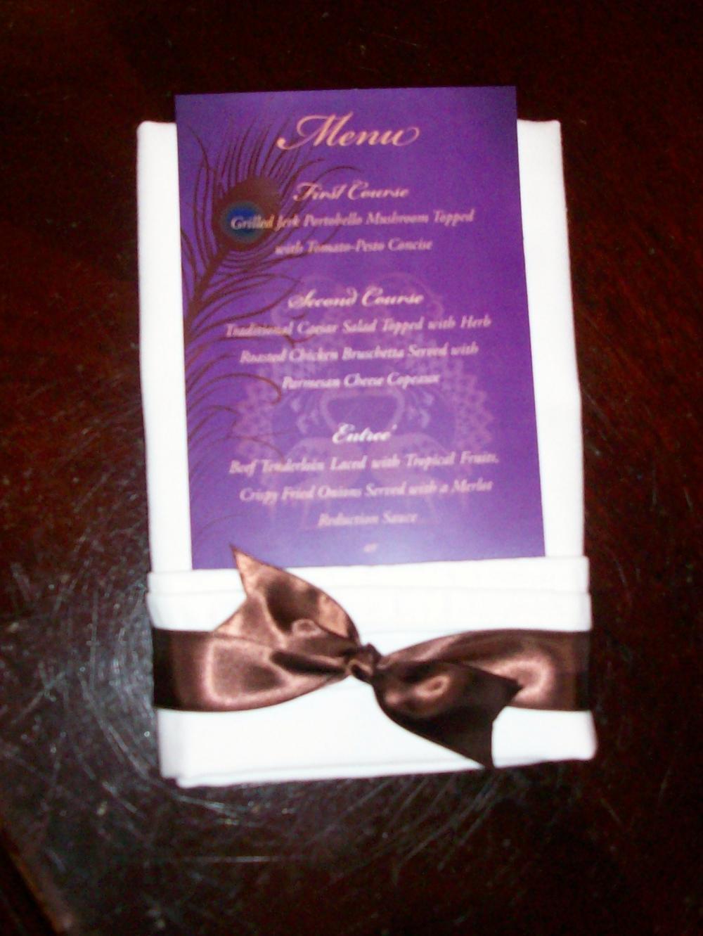 Cynthia & Jeremy had a fantastic menu, created by Cynthia's maid of honor.