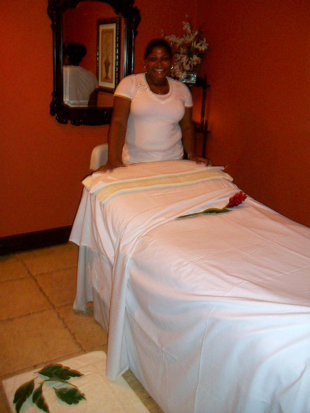 Massage therapist Primrose before our appointment.
