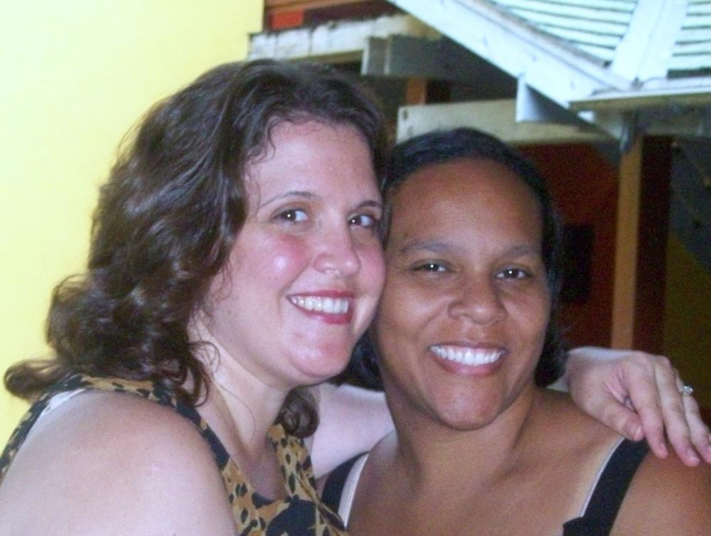 Candy and Ebony after the wedding, getting ready to pack to return to NY.