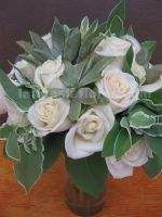foliage and ivory roses bouquet, vintage style.