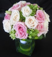 romantic bouquet. combination of green hydrangeas, pink and ivory roses
