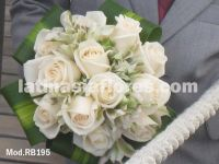 white roses and white alstroemeria bouquet, with foliage