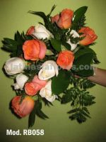 bright coral/orange roses and ivory roses bouquet