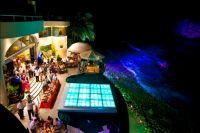 Kurt and Rose Reception, iluminated Dance floor on top of the pool, audio DJ video and Lighting