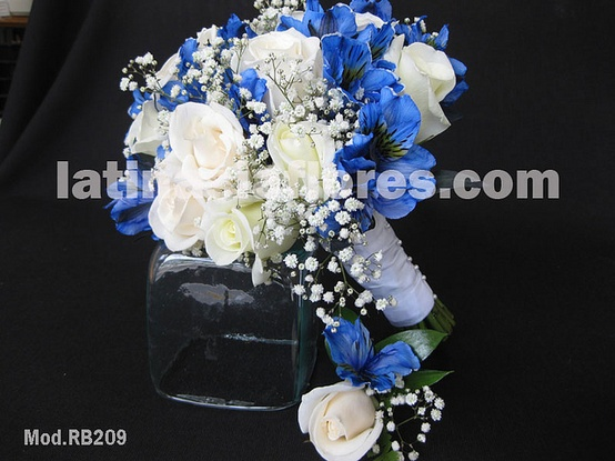 white roses and blue alstroemerias with a touch of baby's breath bouquet