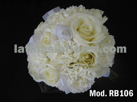 white carnations and roses with a  touch of lisianthus