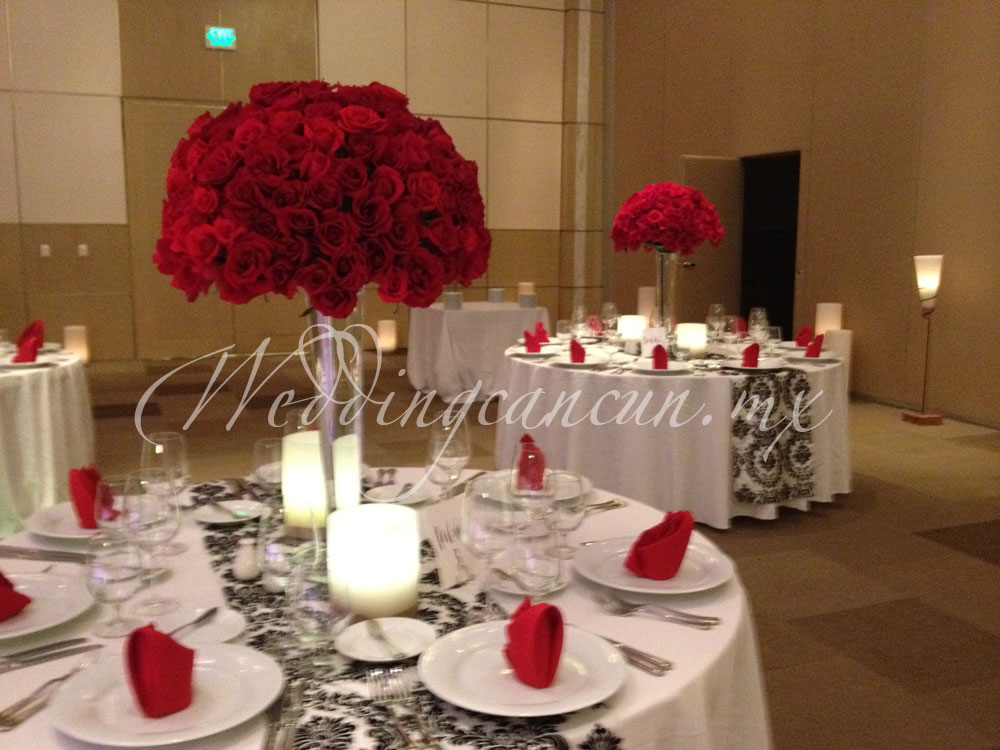 red roses tall centerpiece