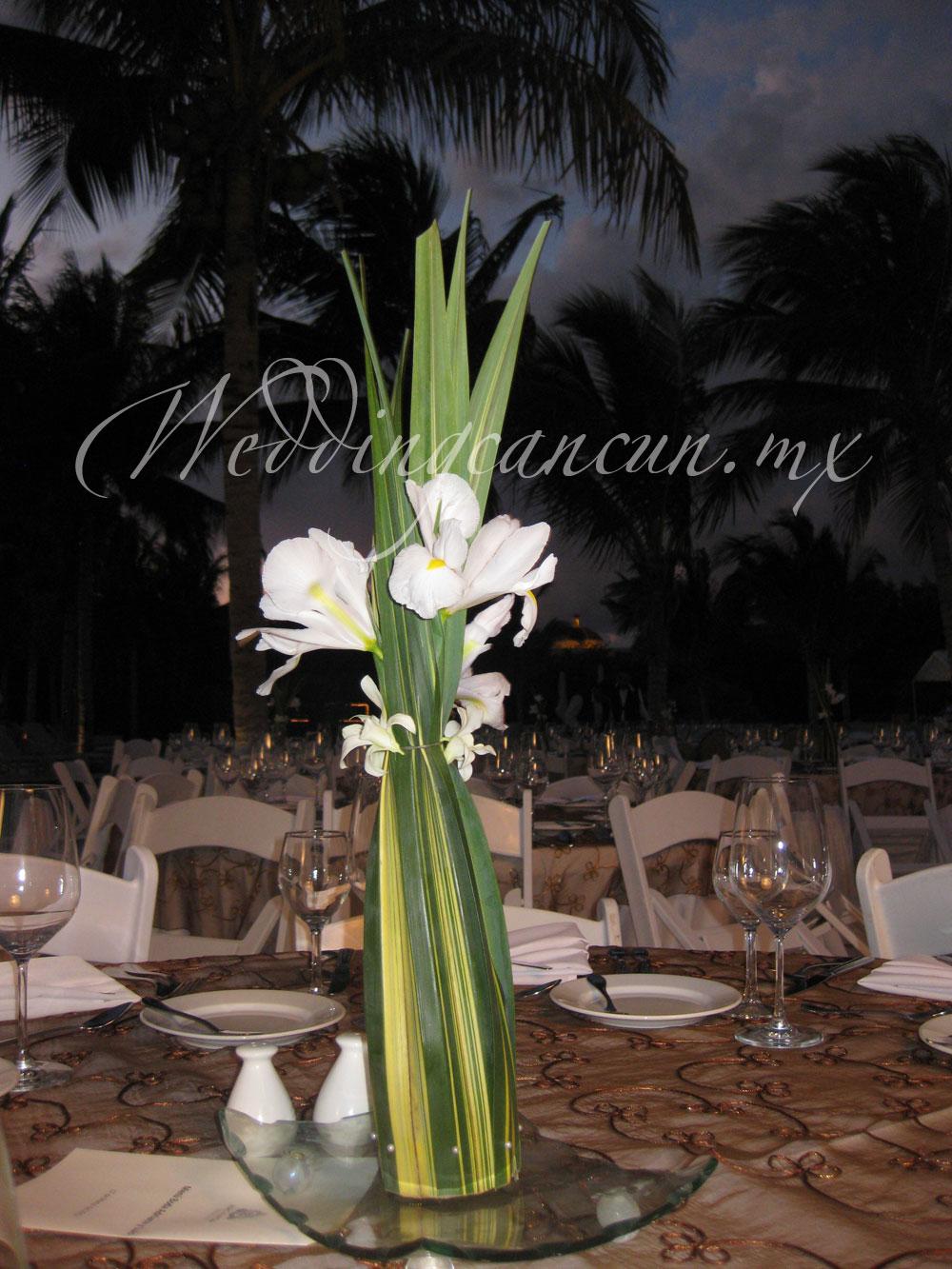 White iris and dendrobium orchids centerpiece