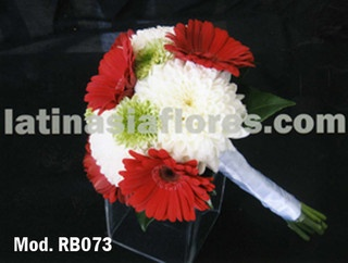 red gerbera daisies and white mums bouquet