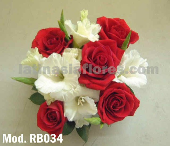 white gladiolus and red roses bridal bouquet