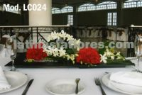 white dendrobium orchids and red carnations pommander Wedding centerpiece