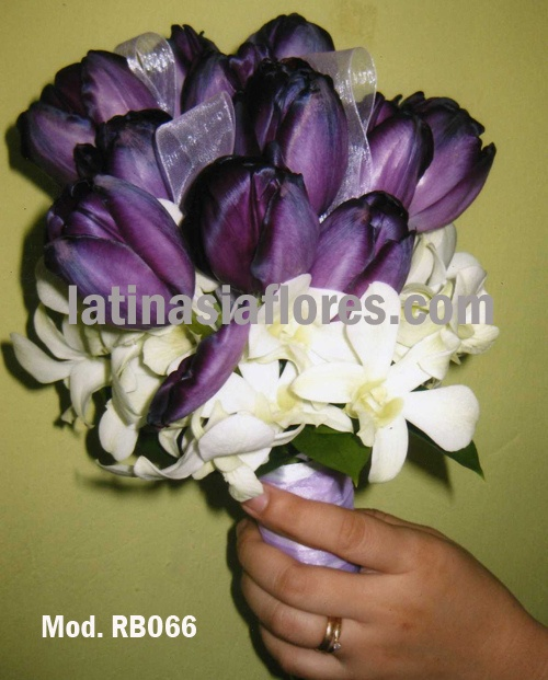 purple tulips and white dendrobium orchids wedding bouquet