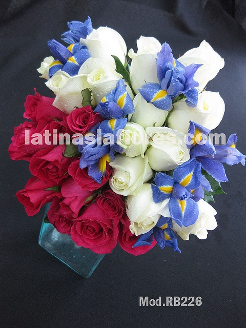 blue iris  with white and fyusha roses