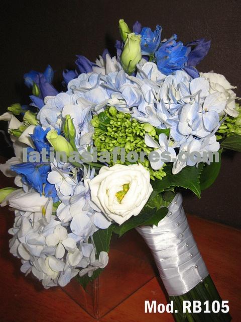 blue and green hydrangeas  bridal bouquet