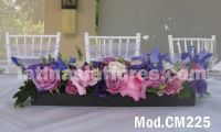 purple roses and iris with lisianthus Wedding centerpiece