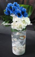 blue alstroemeria and white carnations wedding centerpiece