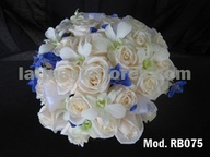 ivory roses and white dendrobium orchidwith a touch of blue freesia bridal bouquet
