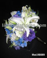 casablanca lilies, white and blue alstroemeria with purple lisianthus  bridal bouquet