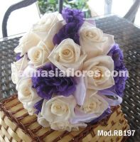 ivory roses and purple lisianthus bridal bouquet