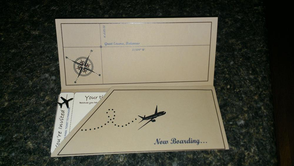 Kelli's boarding pass invitation with pics and templates