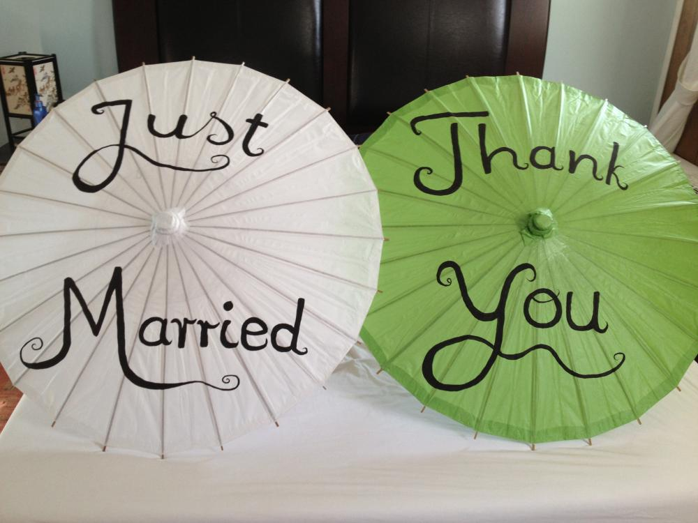 Thank you or Just Married Paper Parasols