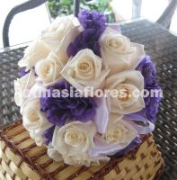 purple lisianthus and ivory roses bouquet