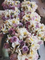 lavender roses and white alstroemeria bouquet