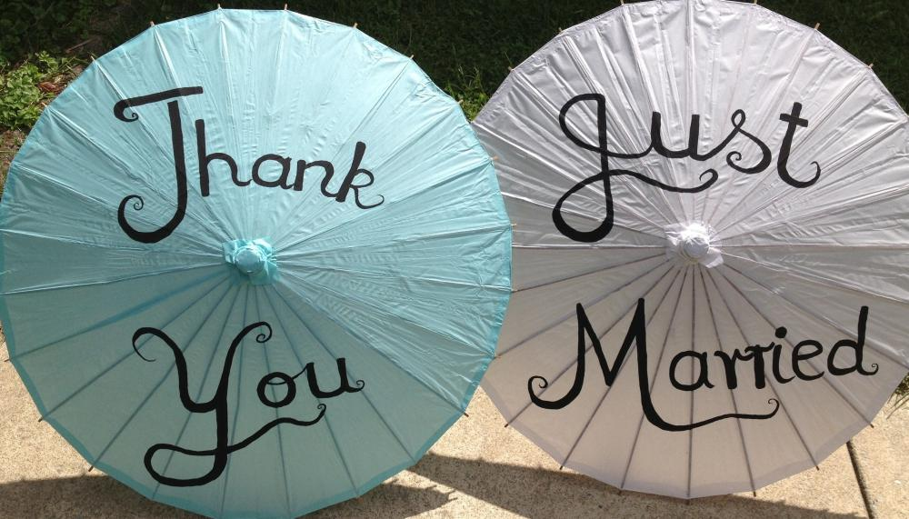 Thank you/ Just Married Paper Parasols for Wedding pics