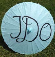 "Turquoise or White ""I Do"" Paper Parasols"