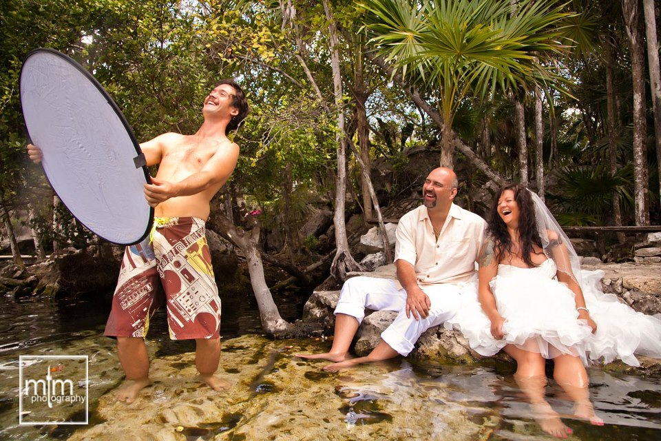 * Alfredo laughing with cenote couple - we have the best job Ever!