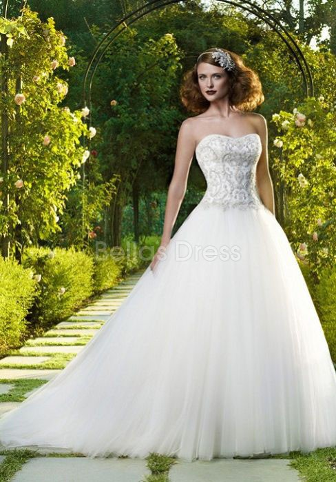 Sumptuous Floor Length Ball Gown Tulle Dropped Court Train Bridal Gown Source: http://www.bellasdress.com/sumptuous-floor-length-ball-gown-tulle-dropped-court-train-bridal-gown-pd5595823.html