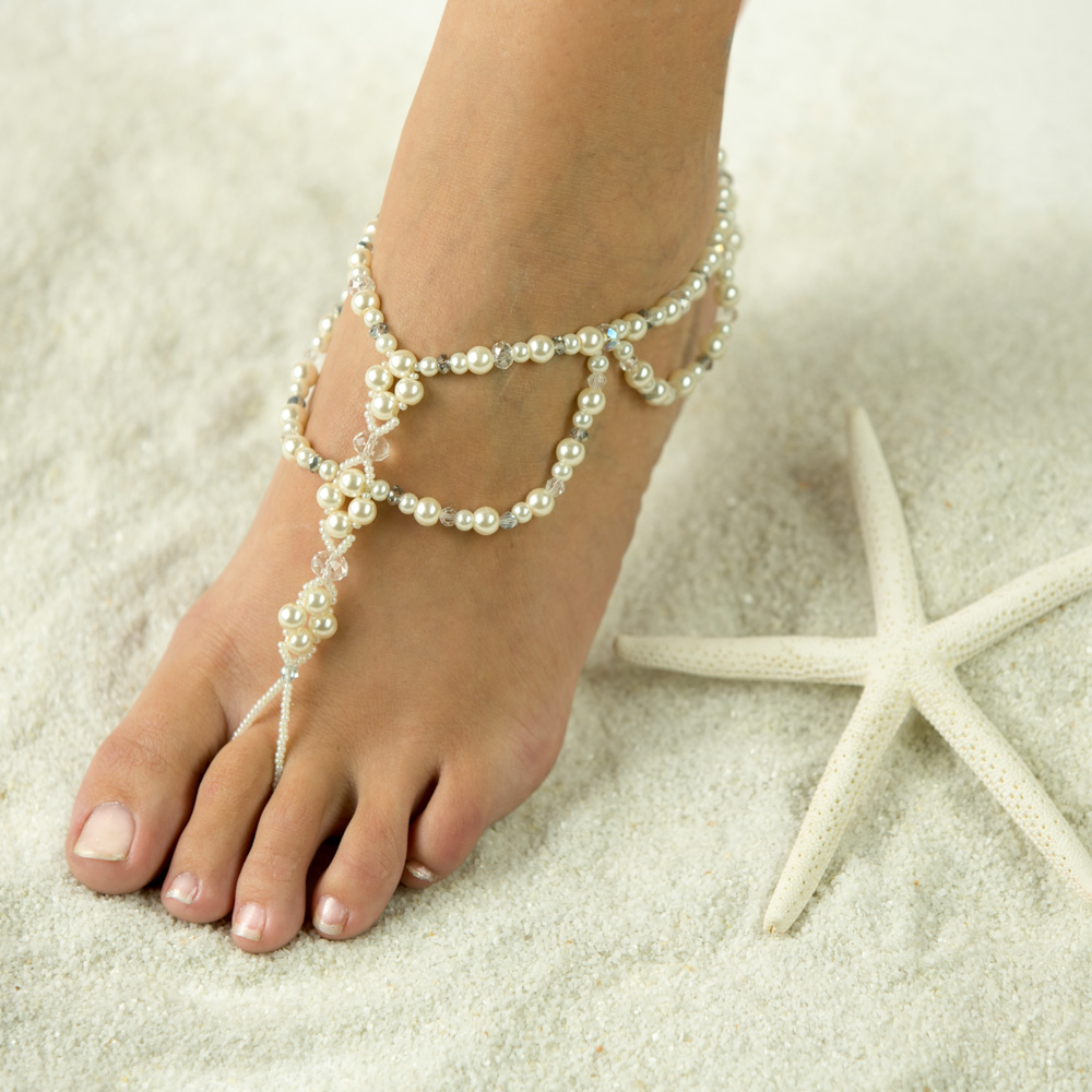 $69.95 Seaside Barefoot Sandals, Foot Jewelry, Wedding Sandals. Beach Wedding Sandals. Made in all Color. FREE SHIPPING. Barefoot Jewelry for the Bridal Party. Barefoot Sandals for the Bride and Bridesmaids. We Recommend adding a matching Toe Ring, Ankle