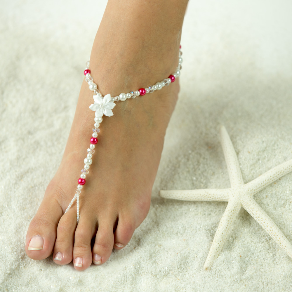 $37.95 Barefoot Summer Sandals are just so adorable. Elegant Bridal Jewelry for the Bride and her Bridesmaids. Barefoot Sandals are handmade with selected pearls and Sparkling Crystals and a single Flower makes this Foot Jewelry loved. Wear your Barefoot