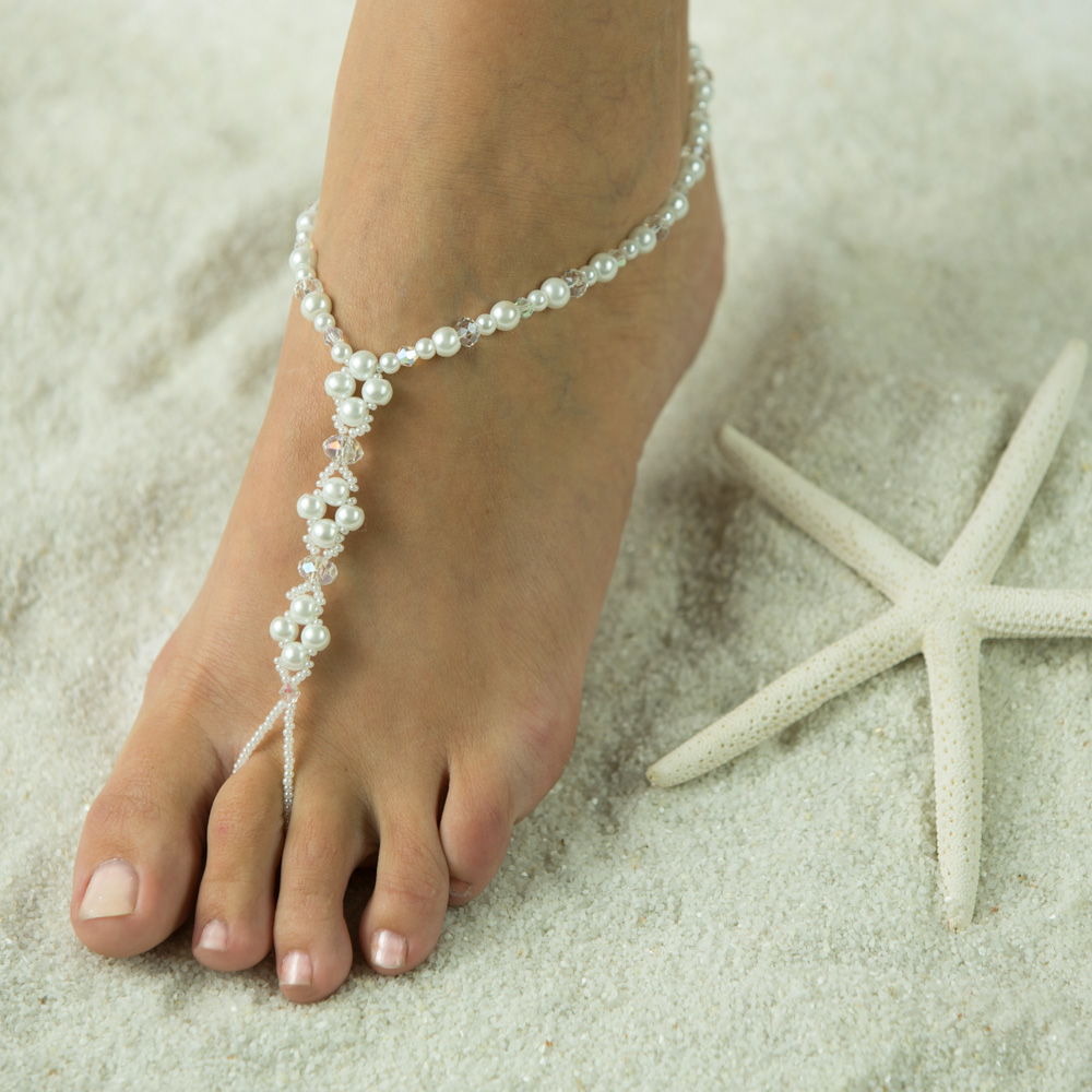 $0.95 Crystal n Pearl Barefoot Jewelry, Very Sexy Body Jewelry. Handmade Barefoot Sandals here in a white pearl and clear crystals. These Barefoot Sandals are stunning in other colors such as Ivory Sandals, white sandals, Turquoise Sandals, Candy Apple Re