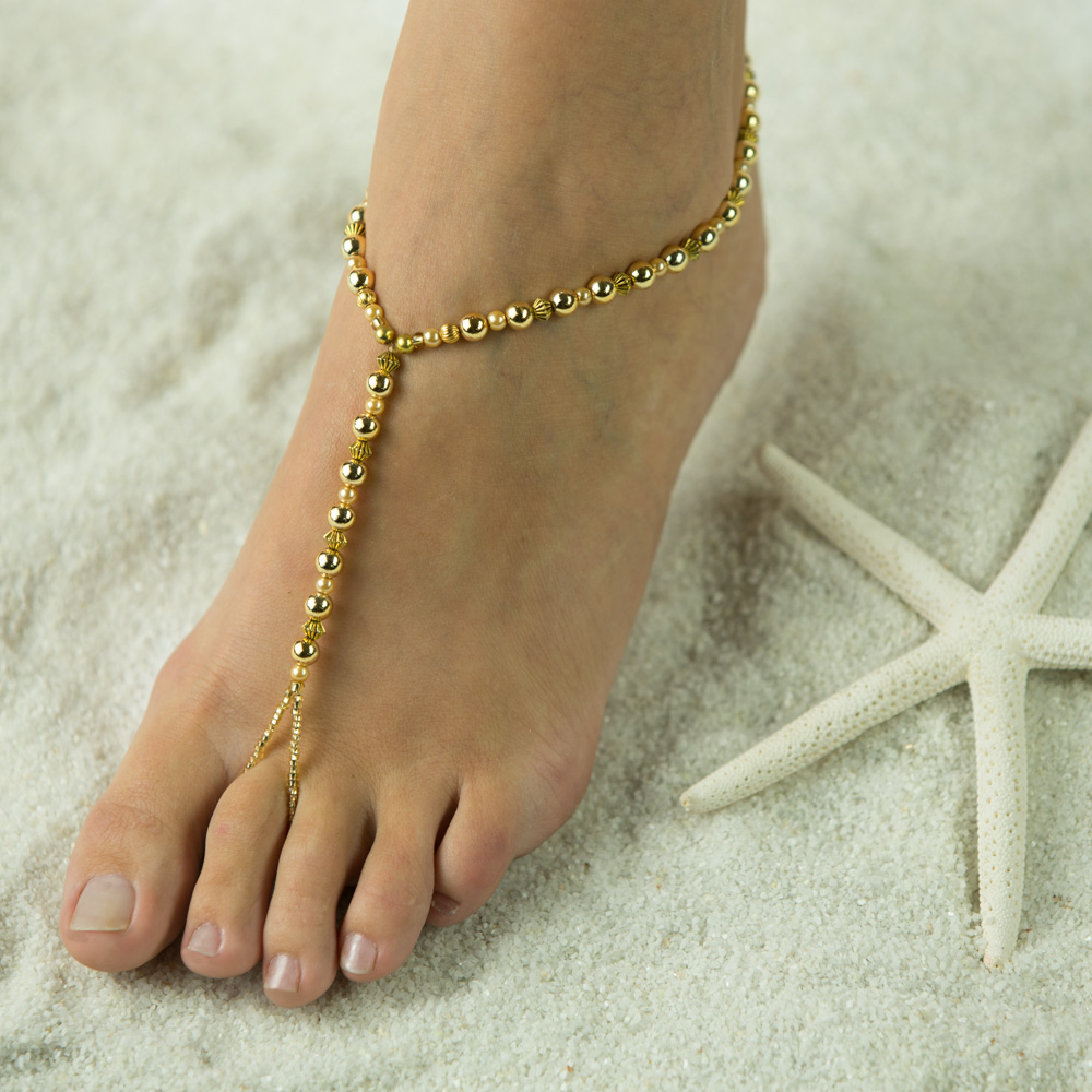 $32.95 Royal Gold  Barefoot Sandals. JUst Barefoot Fun. Wear Foot Jewelry anyhwere you go. Custom made in an assortment of uniquic gold peices. Also made with gold flowers, hearts or stars and other items available on request. Also very attractive when ot