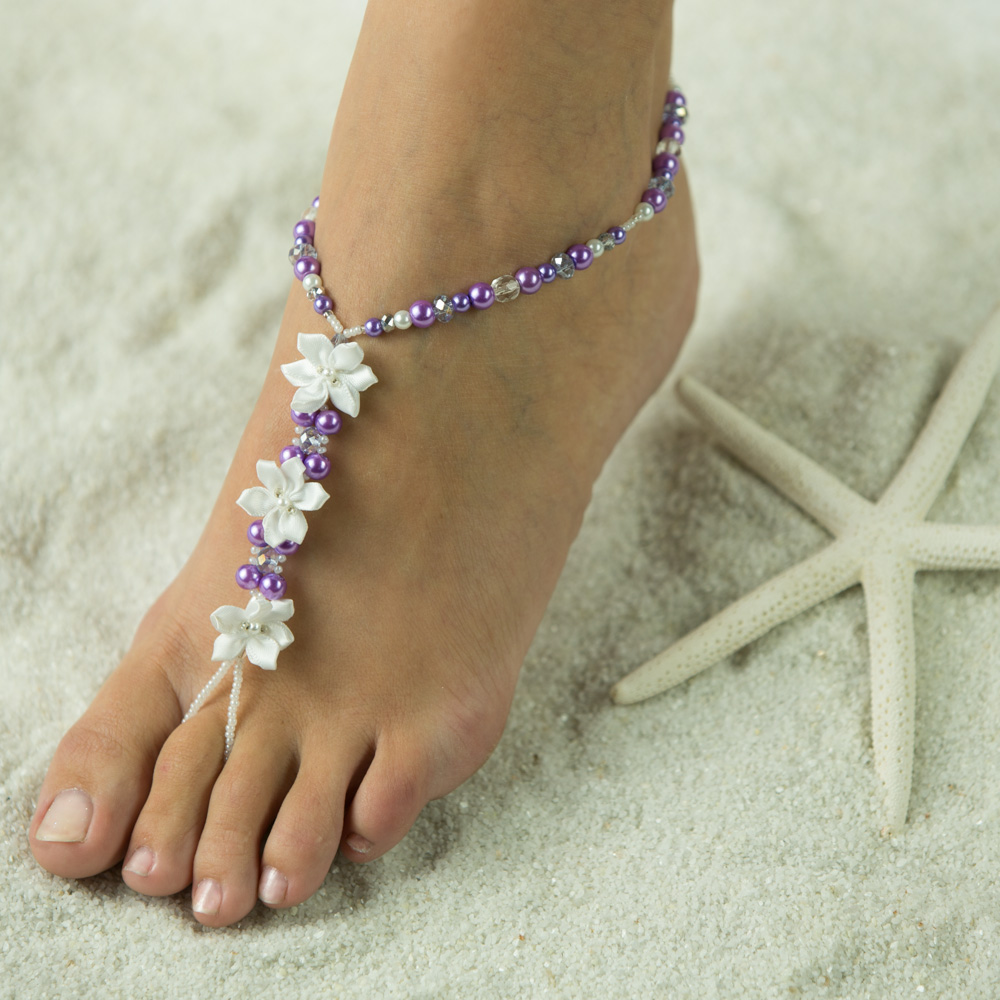 $54.95 These Satin Flower Beach Sandals are so beautiful on those Bare Feet or slip them on over sandals. Foot Jewelry for the Beauitful Bride, Made of Honor, Bridemaids, Flower Girl and Mothers. This Bridal Jewlery is shown made with a touch of Silver Sw