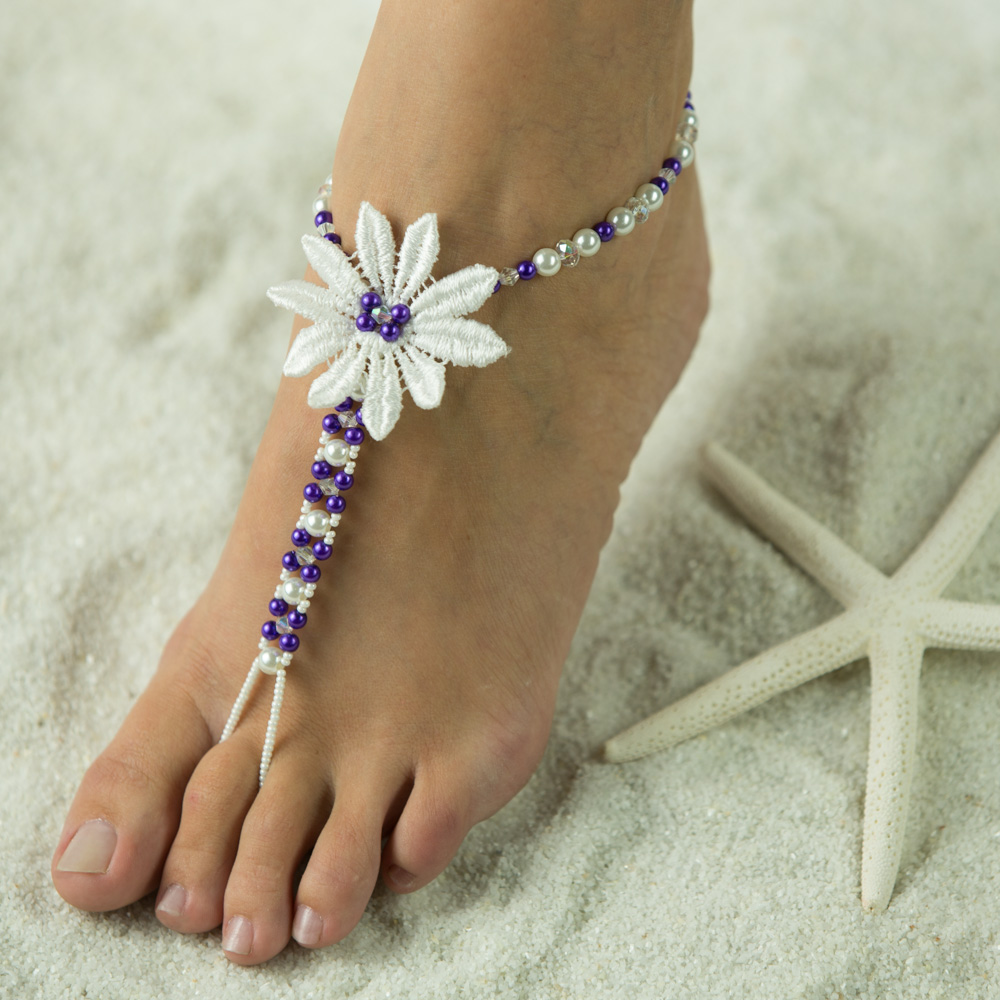 $45.95 Beautiful Foot Jewelry, very popular with Brides from all over the world. This White with Turquoise Accents is just lovely. We custom make yours in any color you choose. Also shown in Purple. The flower is an White. This Barefoot Sandal is beautifu