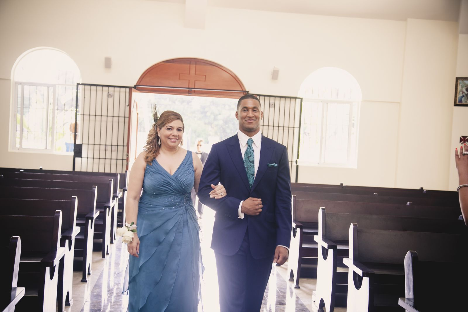 My mom escorted by the best man