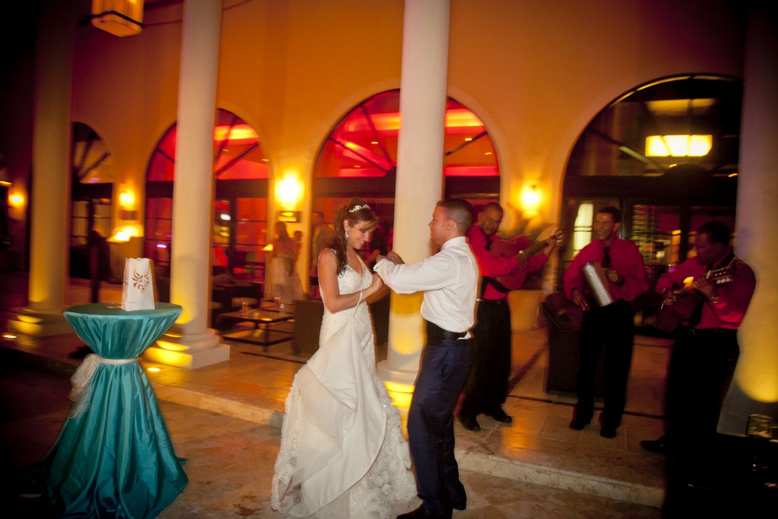 Dancing with my groom to our romantic trio live music