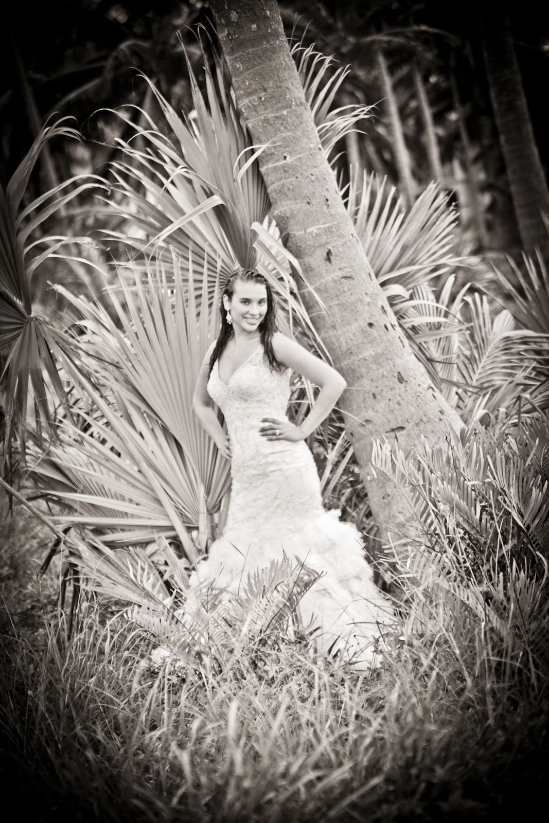 Just the bride in black and white