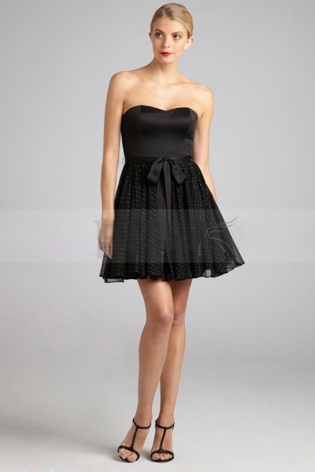 Pretty Black Strapless Cocktail Dress with Puffed Ruffle Skirt