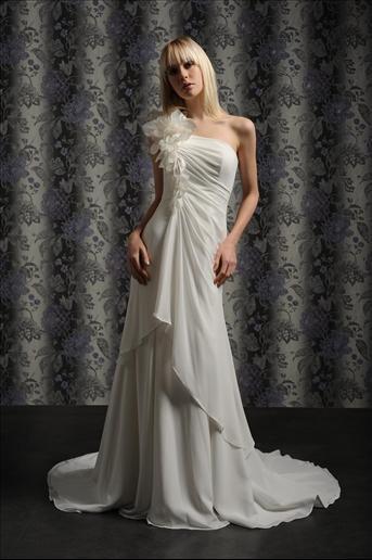 Chiffon One Shoulder  Beach Wedding Dress For Sale