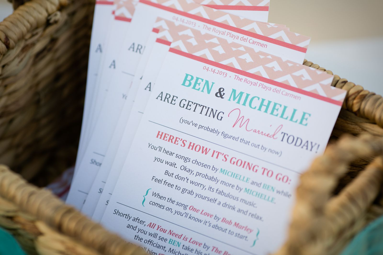 wedding programs...I used a template I found on this site, and then customized. I printed from Vistaprint and got a great deal. I brought the basket and ribbon with me, we had a few to hold things that the wind would have blown away.
