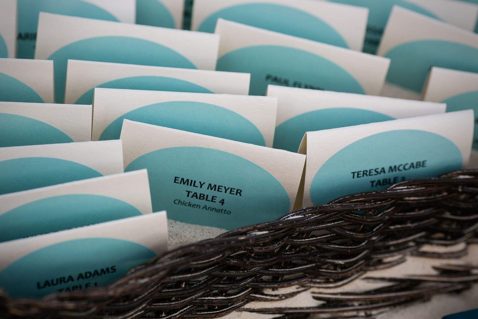 seating cards - I bought the table cards and oval printable stickers from Paper Source, then used the provided online template to fill in and print.