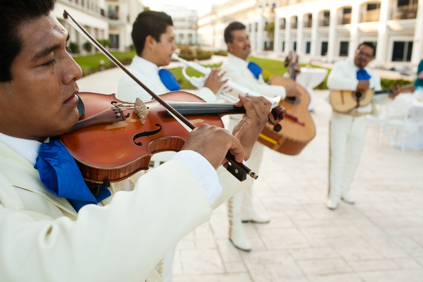 we hired a mariachi band to play a 45-minute set during cocktail hour, many of the guests said that was their favorite aspect of the reception! The mariachi group was an add-on to the wedding package we got from The Royal Playa del Carmen.