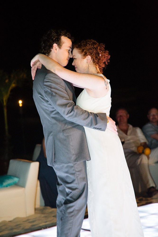 we got a light up dance floor (our reception was on the beach), and it was the best money I spent. It gave us a ton of light and was so much fun to dance on! The Royal offers this as an add-on to any wedding package. The white outdoor seating in the backg