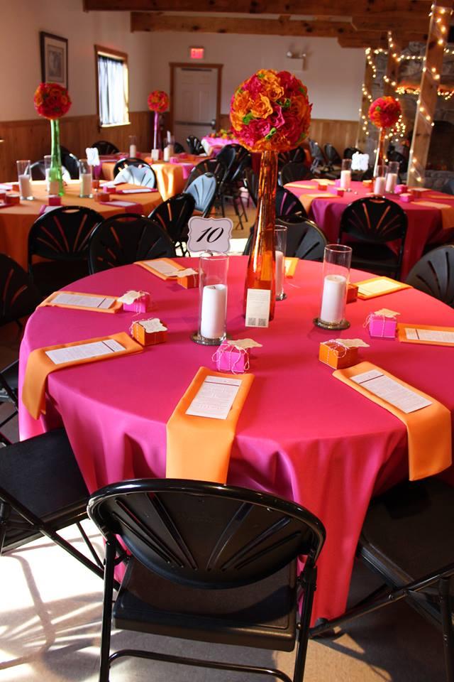Table Linens and Napkins - Fuchsia and Orange