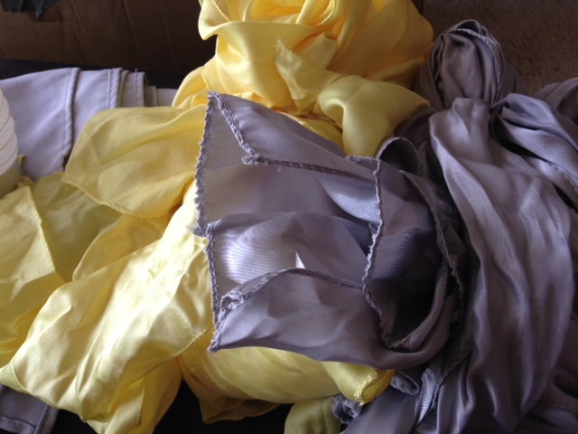 Grey and Yellow Theme (Napkins, Satin Chair Ties and Crossword/Sudoku Books for OOT)