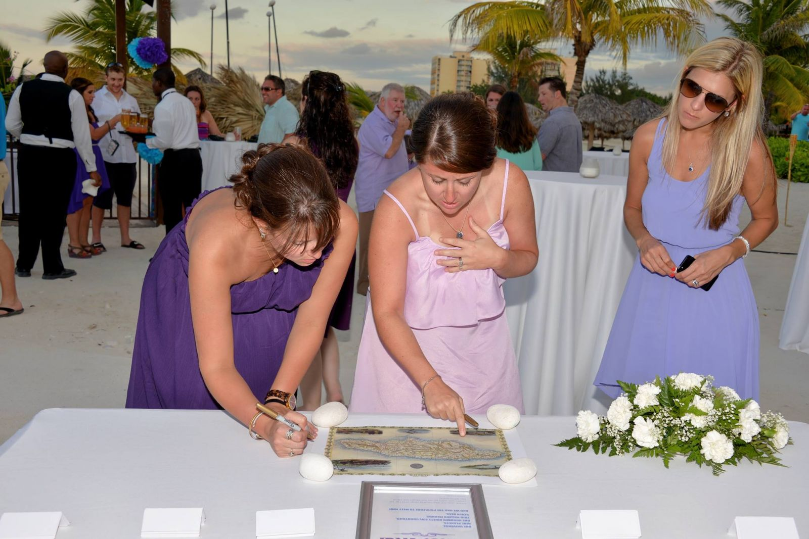 """signing the """"guest map"""" of jamaica (in place of guest book)"""